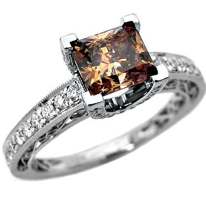 184ct chocolate cushion cut diamond engagement ring 18k gold see more at http - Chocolate Wedding Ring