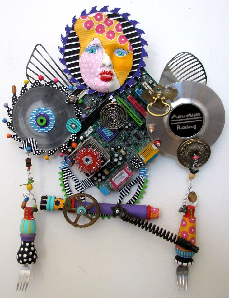 RESERVED FOR TOM I Am A Warrior  recycled found object sculpture mixed media. $1,200.00, via Etsy.
