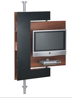 "Trying to find someone to design a ""swivel wall"" for space between LR & Library within existing built-in bookshelves... conceptually similar to this. However, should mount TV from ceiling on panel for one side & bookshelves on backside. Would look like built-in bookshelves when not viewing TV. Need to secure items on bookshelf side to accommodate movement.  Hmmm, must ponder more options."