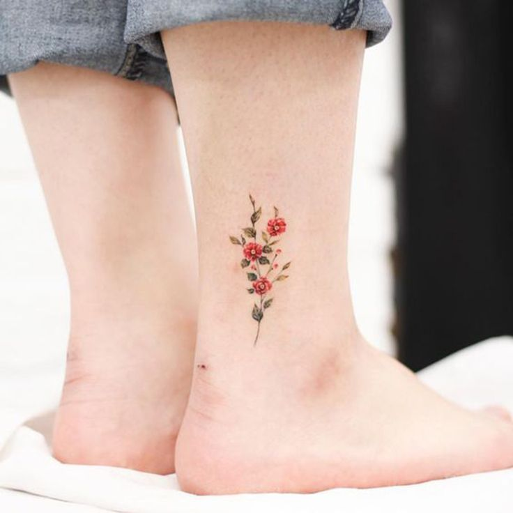 25 cute little floral ankle tattoo ideas