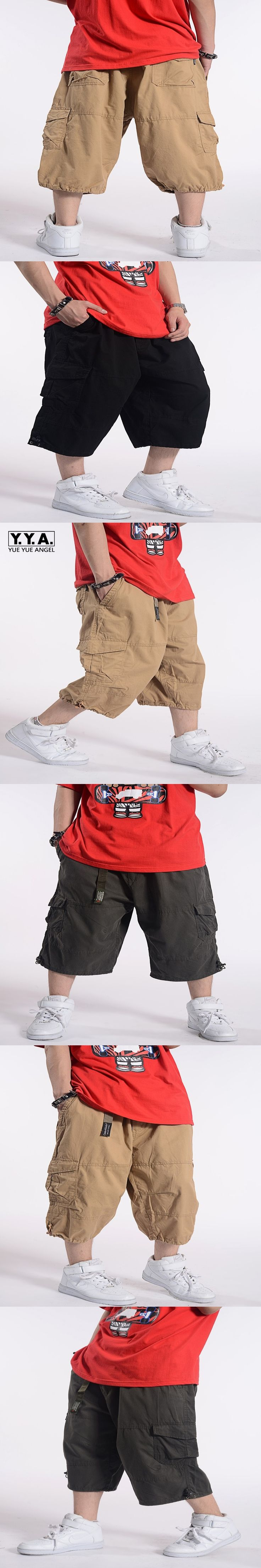 High Quality Fashion Casual Mens Short Pants Loose Cargo Baggy Overalls Hip Pop Skate Sweatpants Over Size Free Shipping
