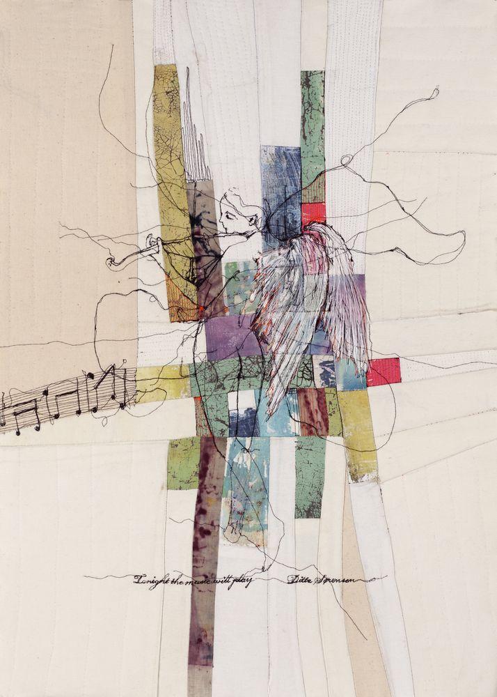 Screen Print by Ditte Sørensen - The original work: Free motion embroidery on textile, photo transfer, quiltedDanish: Det originale billede - Frihåndsbroderi på symaskine, fototransfer, quiltet