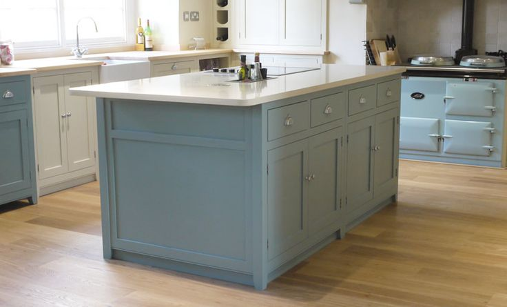 Painted Kitchen - Birch ply cabinets and hardwood frames.