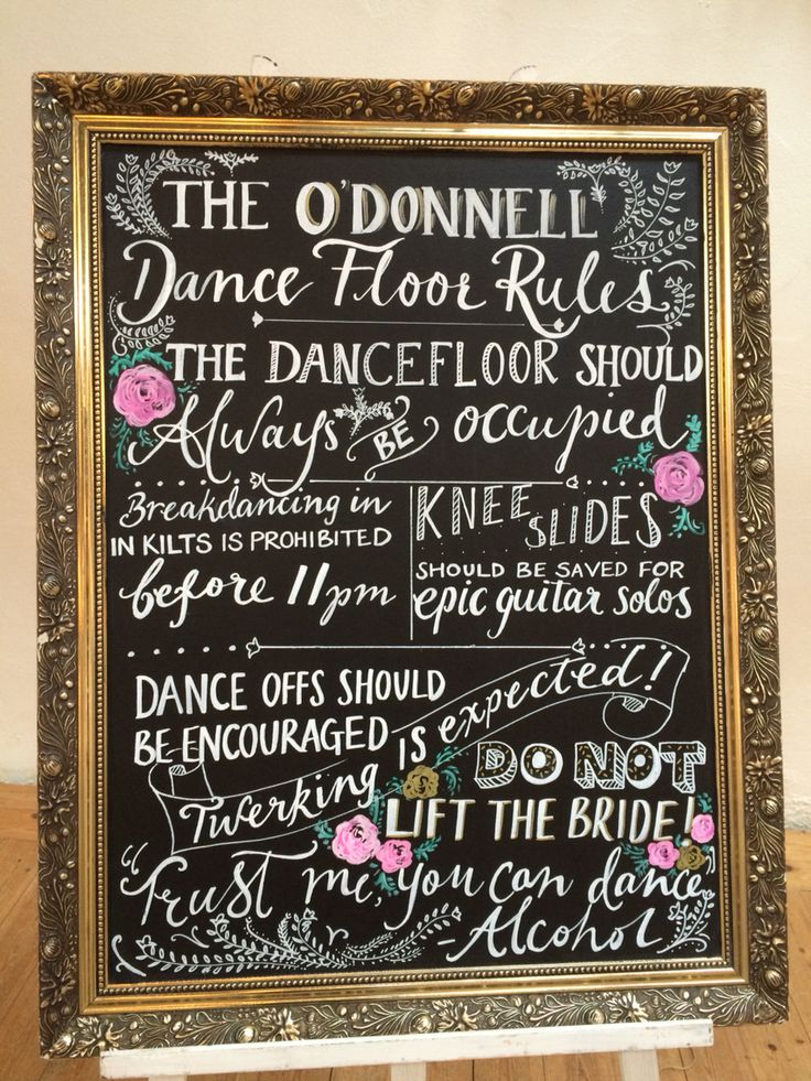 Wedding Chalkboard - Dance Floor Rules