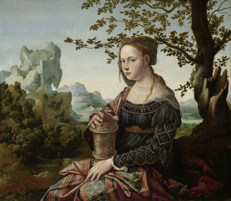 The woman is Mary Magdalen. A jar of ointment is her usual attribute, with which she is said to have tended Jesus's feet. Van Scorel portrayed her as a seductive, lavishly dressed courtesan, a reference to her apparent origins as a prostitute. Her costume shows the influence of Italian painting on Van Scorel, which he absorbed when he travelled to Rome. Jan van Scorel, 1530.