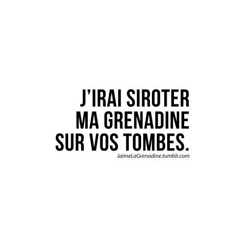 J'irai siroter ma grenadine sur vos tombes - #JaimeLaGrenadine #citation…