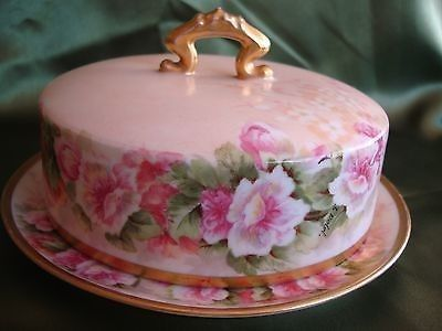 Antique Limoges Elite Hand Painted Butter Dish Cheese