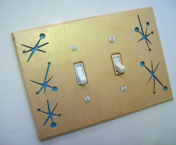 Mid Century Modern Switchplate Atomic Sky Blue by EraWoodStudio, $20.00