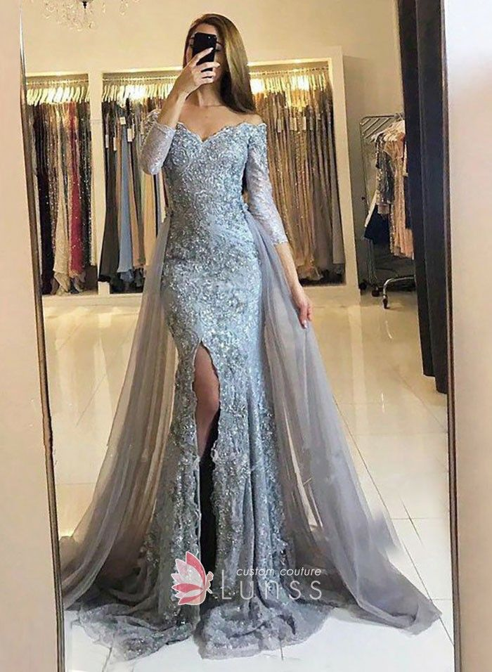 Grey lace appliqued off-the-shoulder mermaid long prom dress with 3 4  sleeves. Thigh-high slit. Detachable overskirt. 46e38e6d0