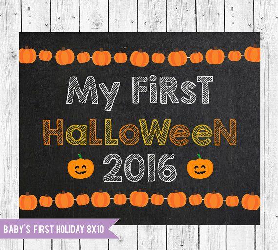 First Halloween Photo Prop Halloween by ChalkboardPrintables