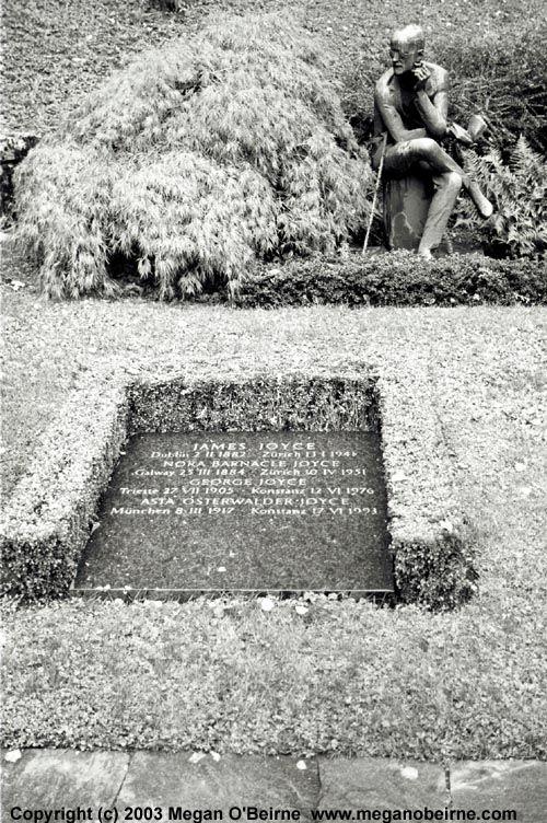 Photograph of James Joyce's grave in Fluntern cemetery, Zurich, Switzerland  (c) 2003 Megan O'Beirne