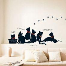 Brand new disegno sveglio bello nero per gatti di famiglia rimovibile wall sticker carta murale della decalcomania di arte adatta per la decorazione domestica(China (Mainland))