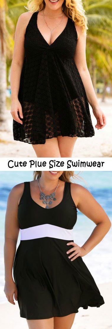 Plus Size Black V Neck One Piece Swimdress.#Rosewe#onepiece#swimdress
