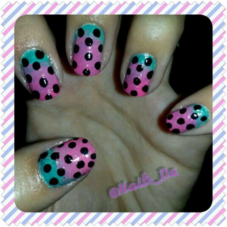 NAILS degrade purple pink green - Arte en tus uñas by Nails Da -  Twitter --> https://twitter.com/Nails_Da Facebook --> https://www.facebook.com/NailsDa Instagram: http://instagram.com/nails_da