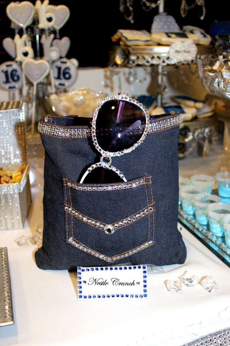Denim Amp Diamonds Sweet 16 Candy Table Party Decoration