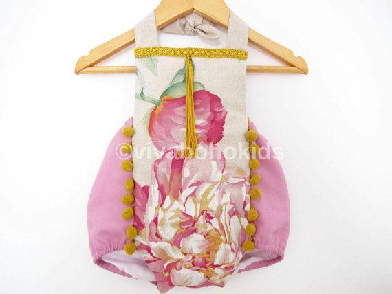 OOAK pagliaccetto taglia 18-24M / prendisole viola fiori lino