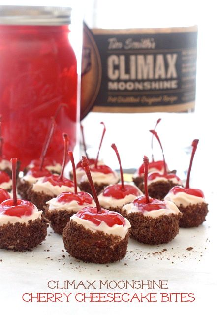 Moonshine soaked cherries covered in a no-bake cream cheese and chocolate graham crackers! Great for parties!