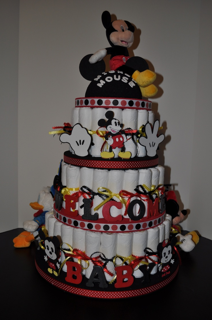 My Disney Diaper Cake :)  All of the figures are hand drawn and painted by me