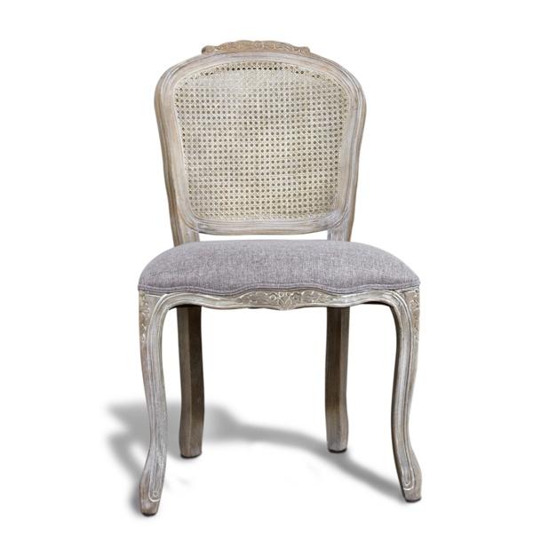 Grey Antique Cane Back Louis Chair