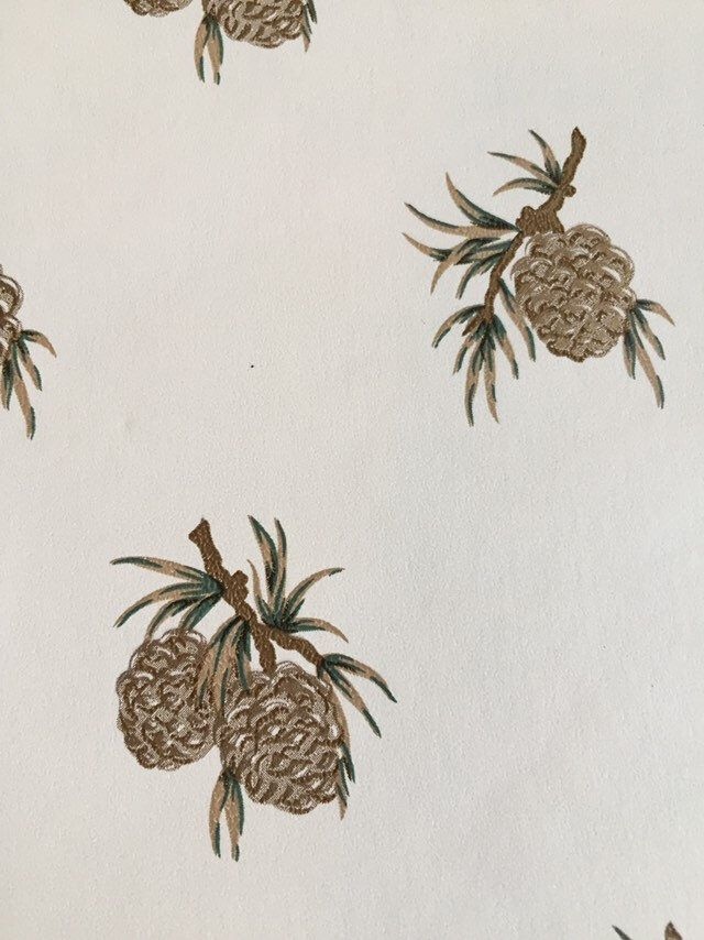 Excited To Share This Item From My Etsy Shop One Ft Vintage Woodland Theme Pinecone Wallpaper Piece Ivory W Woodland Theme Wallpapers Vintage Green Accents