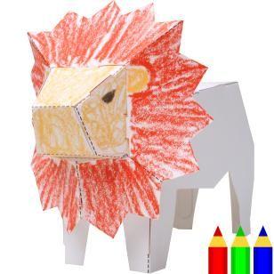 Figura de papel con dibujos : León,Juguetes,Arte de papel,Figura de papel con dibujos,Colorante,Animales,León,Instrucción intelectual,Juguete