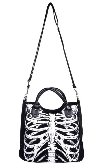 Banned - Hand /Shoulder Bag with Glow in the Dark Ribcage Design [BBN-733] - $36.26 : Gothic Clothing, Gothic Boots & Gothic Jewellery. New Rock Boots, goth clothing & goth jewellery. Goth boots and alternative clothing