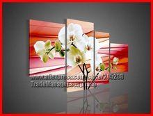 çerçeveli 4 panel büyük orkide çiçek tuval üzerine yağlıboya 4 adet duvar sanatı pembe resim dekorasyon xd01807(Hong Kong)