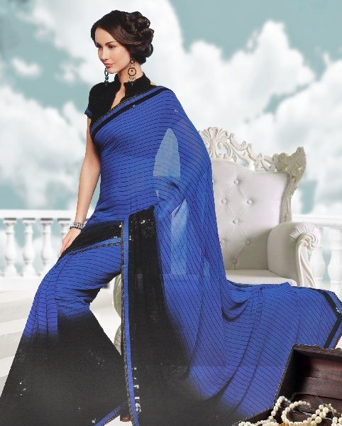 Georgette designer sarees Embroidered