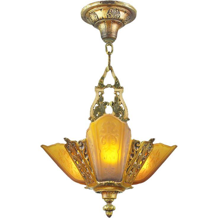 art deco vintage 3 light pendant 1930s ceiling fixture by moe bridges ant628 - Antique Light Fixtures