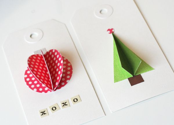 3-D paper gift tags http://warmhotchocolate.com /2010/12/20/diy-gift-tag-inspiration/