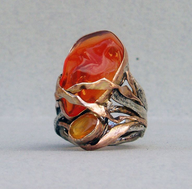 ring-silver,rose gold,fire opal
