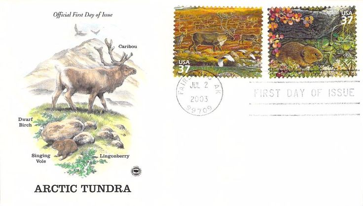 2003 Arctic Tundra Caribou \ Vole Hand Colored PCS First Day Cover