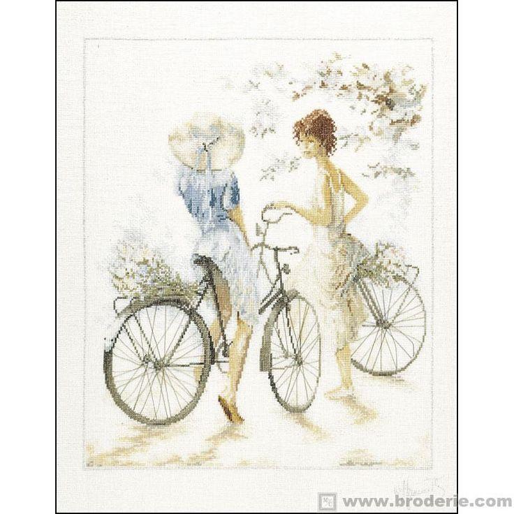 Kit Punto Croce Ragazze con bicicletta Lanarte LA23.33788 - La Casa del Canovaccio e del Ricamo