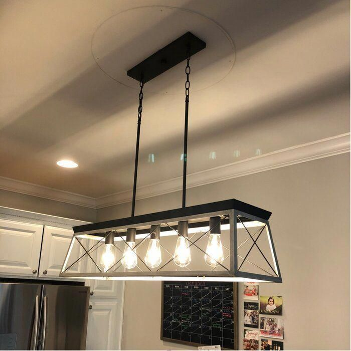 Delon 5 Light Kitchen Island Linear Pendant In 2020 Farmhouse Kitchen Lighting Kitchen Island Lighting