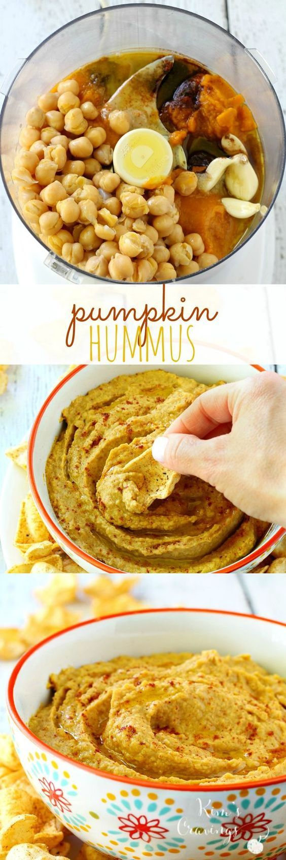 Traditional hummus gets a major kick of flavor with everyone's favorite fall fruit in this healthy pumpkin hummus! vegan gluten-free and dairy-free