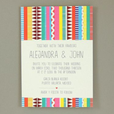Southwest Bohemian Bilingual Wedding Invitation   Multiculturally Wed