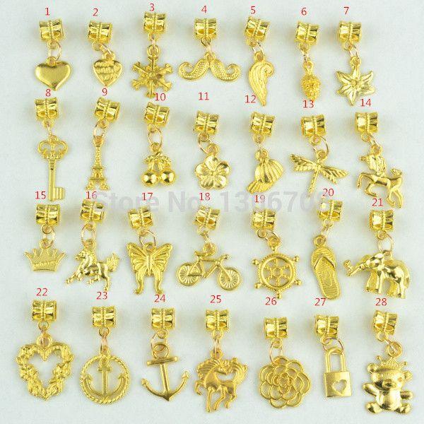 Новинка 28 шт. смешанный металлов подвески позолоченные большая дыра бусины подвески подходит пандора браслеты и ожерелье ювелирные изделия ручной работы 3051 купить на AliExpress