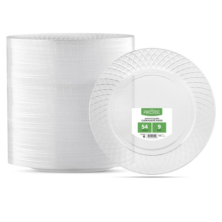 """Prestee 9"""" Diamond Cut Design Crystal Heavyweight Clear Round Plastic Party Plates - 54 Count - Disposable - Premium Dinner Plates for Weddings, Parties, and Everyday Use"""