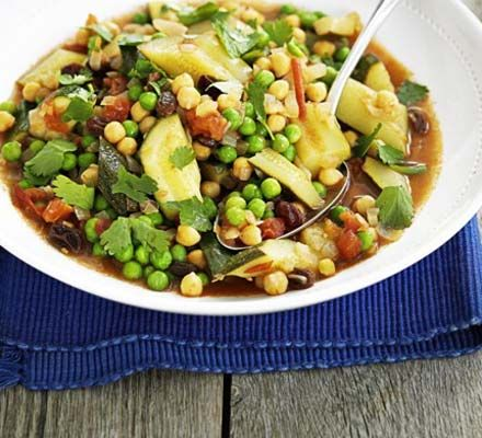 Vegetable tagine with chickpeas & raisins ........  We've made getting your five of day simple with this healthy tagine