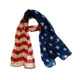 Minjie Large USA American Flag Scarf Beach Wrap Soft Lightweight