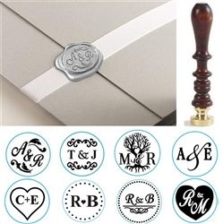 "Wedding Initial Custom Wax Seal Stamp- Duogram His & Hers  on 1"" Die-Font, Layout & handle options"
