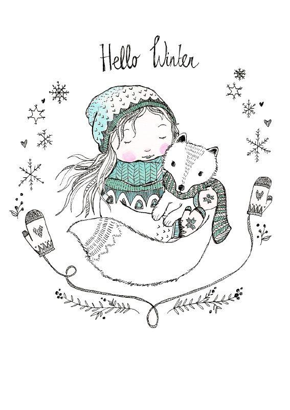 Hello Winter - Postkarte von Marieke ten Berge.