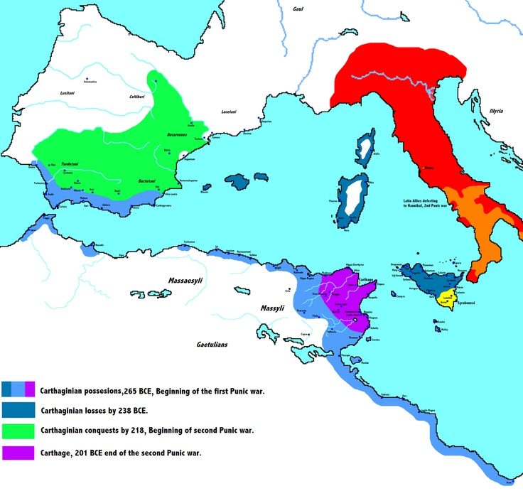 Map of the first and second Punic wars (Rome vs. Carthage (Phoenicians))