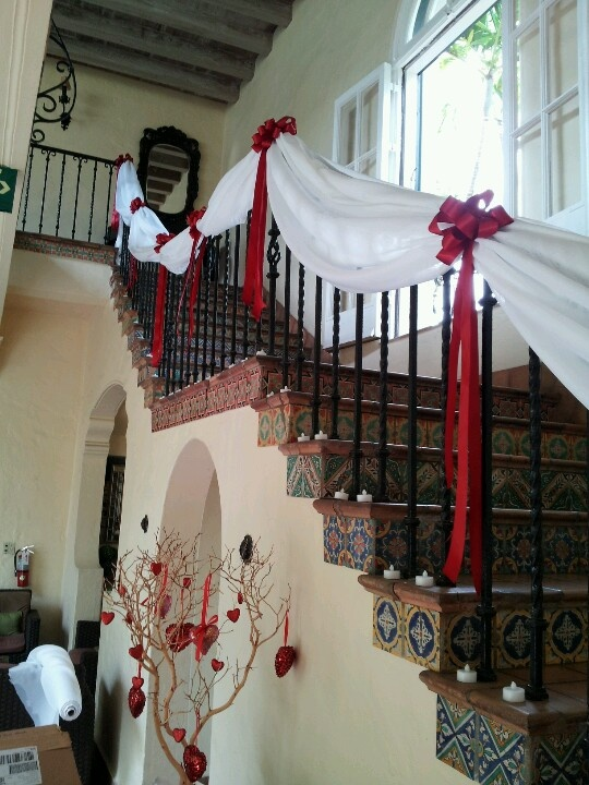 464 best wedding staircases decor images on pinterest stairways treated the staircase with some chiffon and red bows for a post valentines wedding junglespirit Image collections