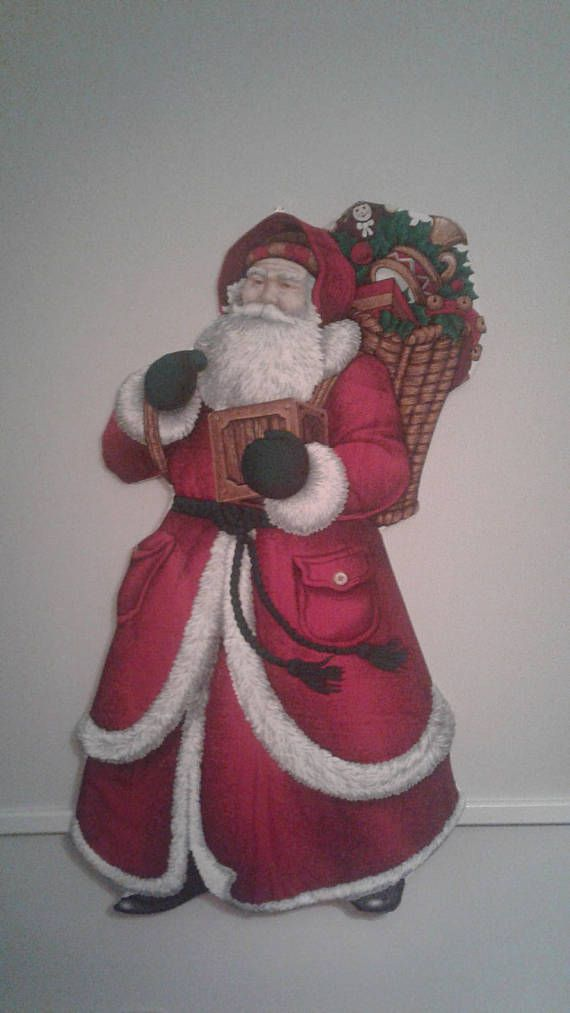 Hand Quilted Old World Santa Print Collage Wall Hanging
