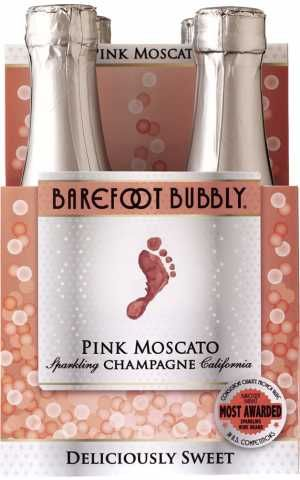 Barefoot Bubbly Pink Moscato Champagne NV / 187 ml. 4 pack