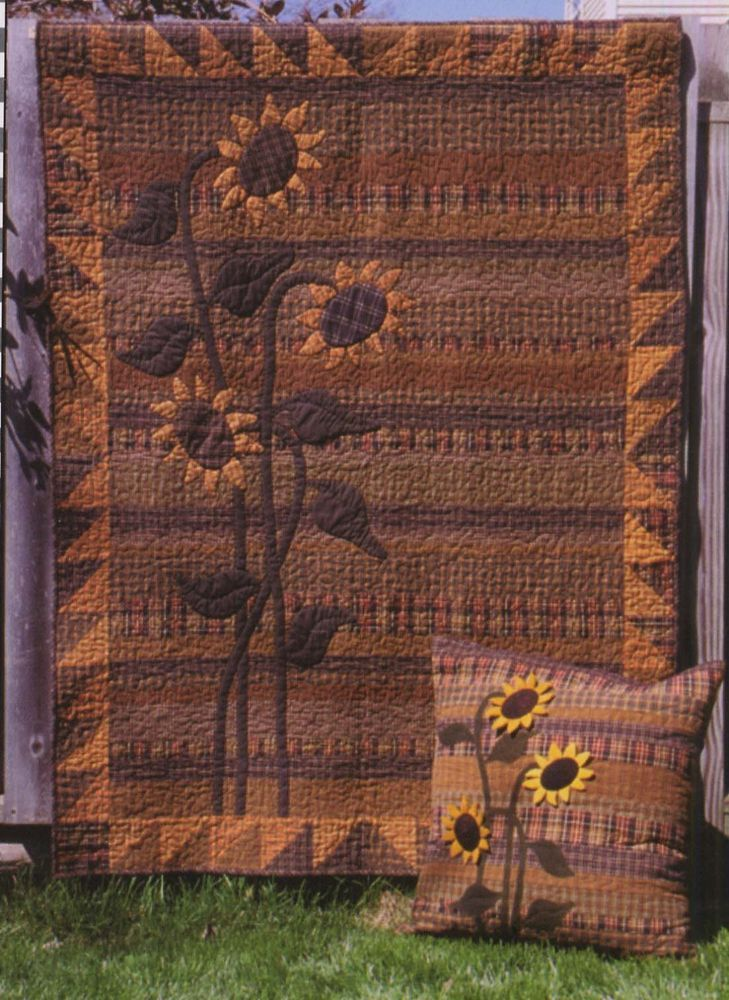 Primitive Gatherings SUNFLOWER MEADOW Quilt and wool Pattern #PrimitiveGatherings