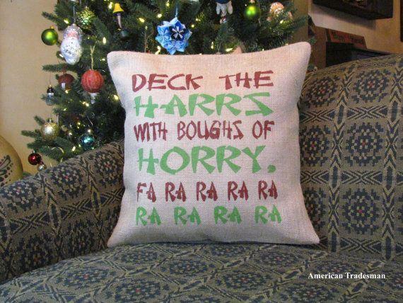 Burlap Pillow A Christmas Story Pillow Deck The by PillowsOfPlenty