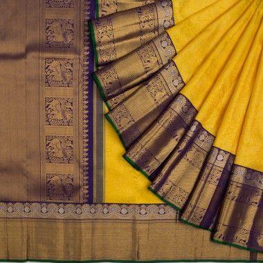 Kanchipuram Silk Jaal Yellow Saree