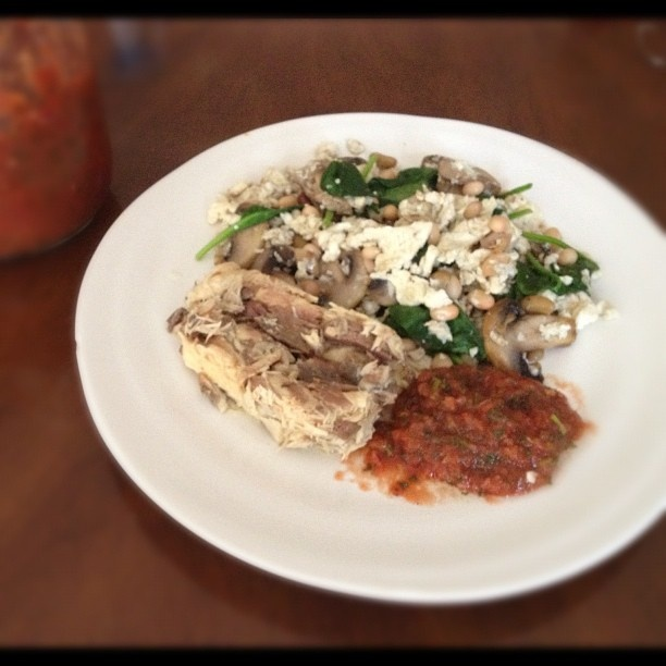 My typical Slow Carb Breakfast,  tinned fish, in this case mackeral with scrambled eggs, sauted mushrooms, spinach & beans with homemade salsa.